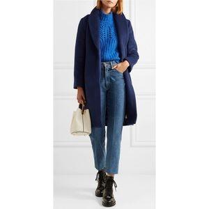 Ellen Tracy Navy Lapel Long Sleeve Slim Wool Coat